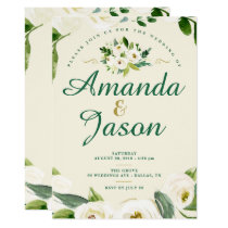 Watercolor White Green Gold Floral Bouquet Invitation