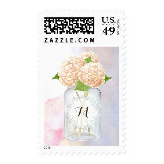 Watercolor White Hydrangeas Mason Jar Wedding Stamp