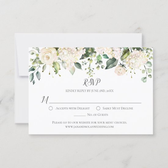 Watercolor White Hydrangeasand Roses Greenery RSVP