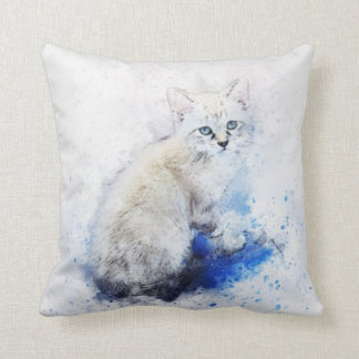 Watercolor White Kitten Throw Pillow