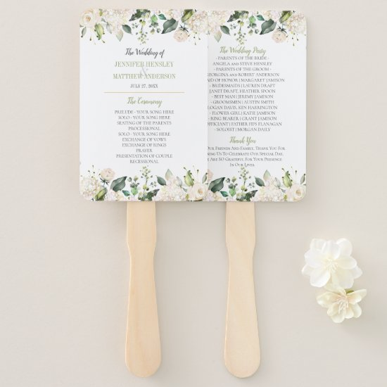 Watercolor White Peonies and Roses Frame Wedding Hand Fan