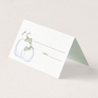 Watercolor White Pumpkin Place Card