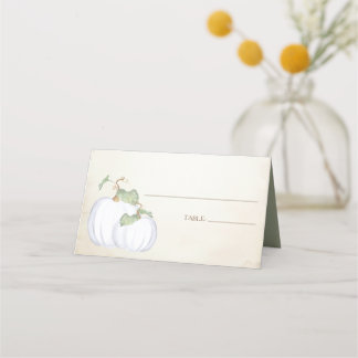 Watercolor White Pumpkin Place Card