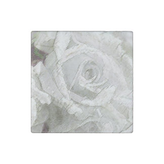 Watercolor White Rose - Marble Magnet Stone Magnet