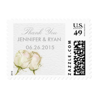 watercolor white rose wedding thank you stamps