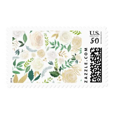 Wedding Themed Watercolor White Tan Floral Wedding Postage Stamp
