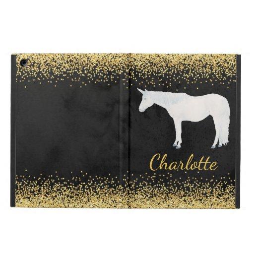 Watercolor White Unicorn Black Gold Confetti Case For iPad Air