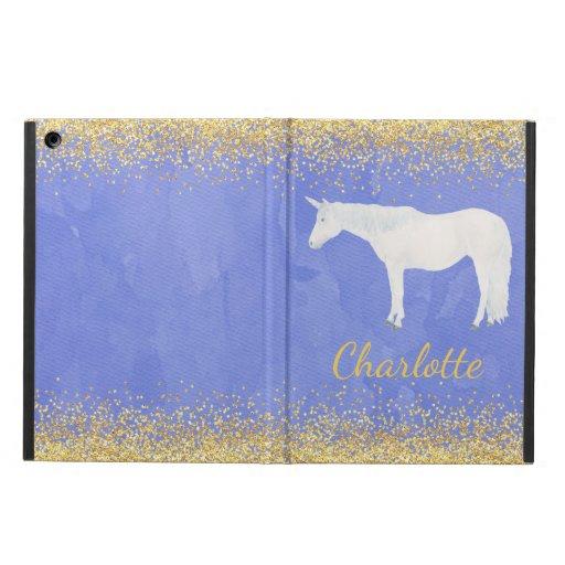Watercolor White Unicorn Blue Gold Confetti Case For iPad Air