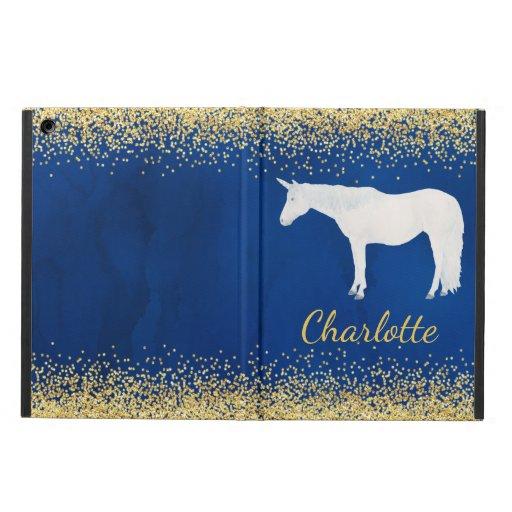 Watercolor White Unicorn Navy Blue Gold Confetti Case For iPad Air