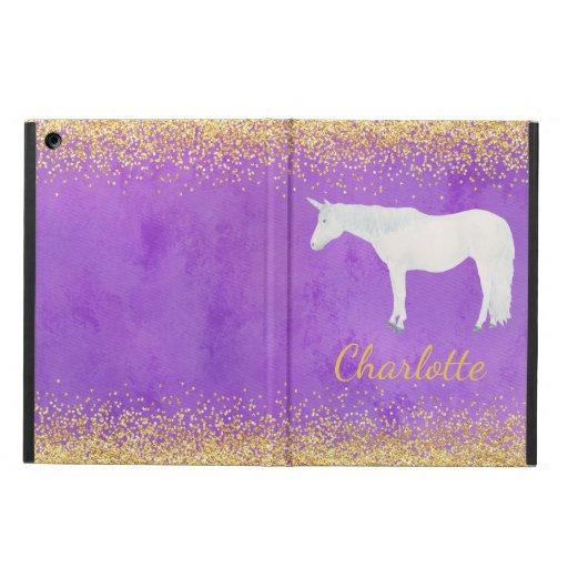 Watercolor White Unicorn Purple Gold Confetti Case For iPad Air