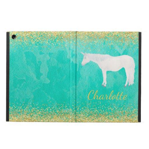 Watercolor White Unicorn Spearmint Gold Confetti Case For iPad Air