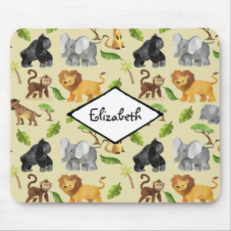 Watercolor Wild Animal Safari Jungle Pattern Mouse Pad
