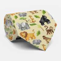 Watercolor Wild Animal Safari Jungle Pattern Neck Tie