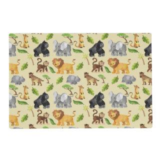 Watercolor Wild Animal Safari Jungle Pattern Placemat