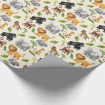 Watercolor Wild Animal Safari Jungle Pattern Wrapping Paper