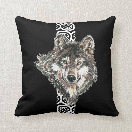 Watercolor Wild Gray, Grey Wolf Head Logo Design Pillows