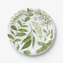 Watercolor Wild Green Foliage Leaves Cluster Paper Plate