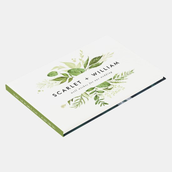 Watercolor Wild Green Foliage Photo Wedding Guest Book