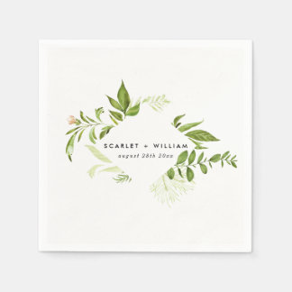 Watercolor Wild Green Foliage Wedding Napkin