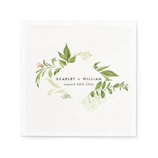 Watercolor Wild Green Foliage Wedding Napkin
