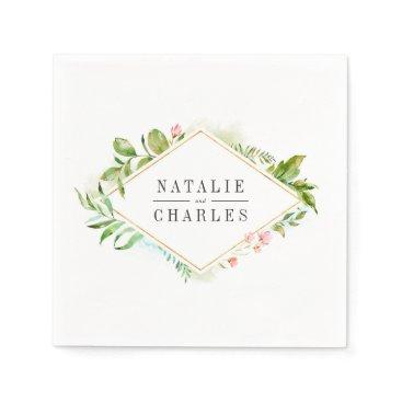 Wedding Themed Watercolor Wild Green Foliage Wedding Personalized Napkin