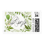 Watercolor Wild Green Foliage Wedding RSVP Stamp