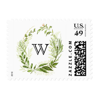 Watercolor Wild Green Foliage Wreath Monogram I Postage