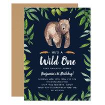 Watercolor Wild One Birthday Invitation   Navy