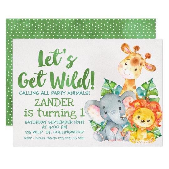 Watercolor Wild Safari Animals Birthday Invitation