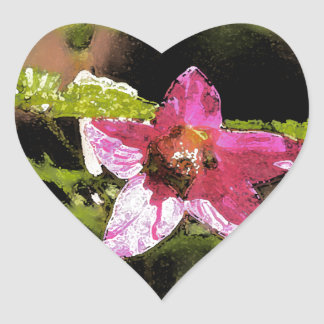 Watercolor Wild Salmonberry Blossom Heart Sticker