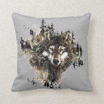 Watercolor Wild Wolf Mountain Animal Nature Art Throw Pillow