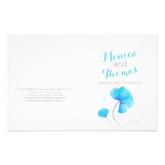 Watercolor wildflower blue grey wedding program