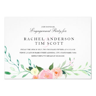 Watercolor Wildflower Engagement Party Invite