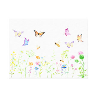 Watercolor Wildflower Meadow Canvas Print