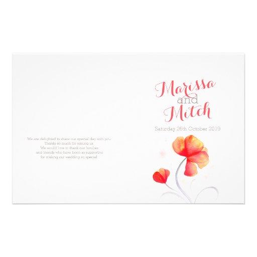 Watercolor wildflower orange grey wedding program flyer