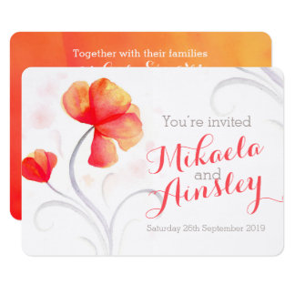 Watercolor wildflower orange wedding invite