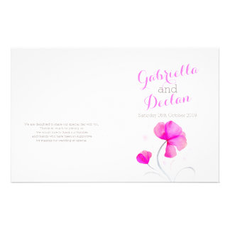 Watercolor wildflower pink grey wedding programme full color flyer