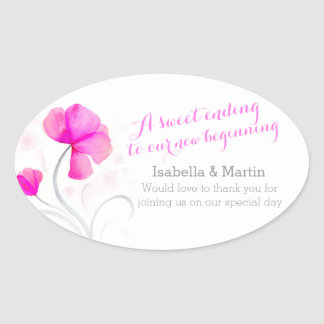 Watercolor wildflower pink wedding candy stickers