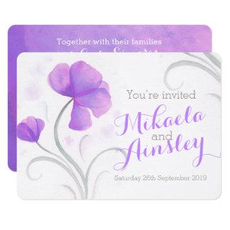 Watercolor wildflower purple wedding invite