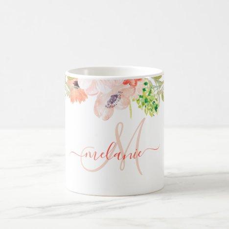 Watercolor Wildflowers Pink Custom Monogram Name Coffee Mug