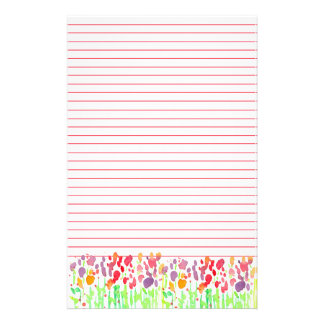 Watercolor Wildflowers Red Lined Stationery