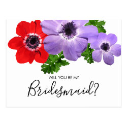 Watercolor Will You Be My Bridesmaid Postcard