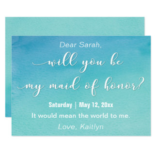 "Watercolor ""Will You Be My Maid of Honor?"" Card"