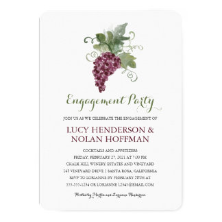 Watercolor Wine Vineyard | Engagement Party Card