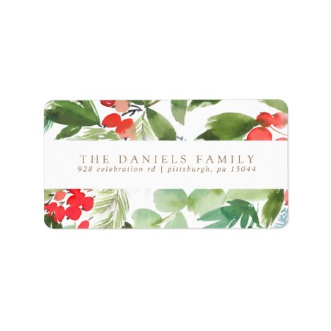 Watercolor Winter Berries and Greenery Label
