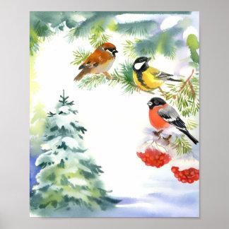 Watercolor Winter Birds Poster