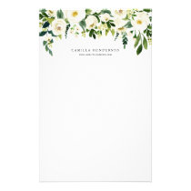 Watercolor Winter Botanical Floral Garland Stationery