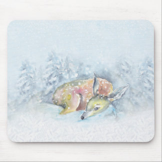 Watercolor Winter Deer in Snow Mouse Pad
