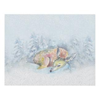 Watercolor Winter Deer in Snow Panel Wall Art