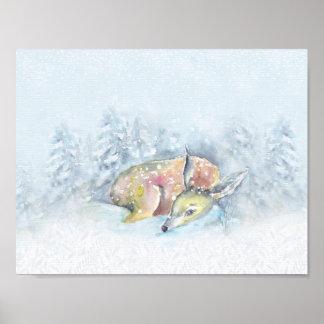 Watercolor Winter Deer in Snow Poster